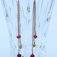 Earrings - Red and Gold Dangles - Chain and Red Coral Drop  - Burlesque Style