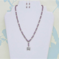 Purple & Silver Necklace and Earrings Set, Tibetan Silver, Czech Glass Beads