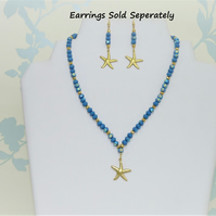 Blue & Gold Starfish Necklace Earrings Set, Czech Beads, Gold Plated, Star Fish