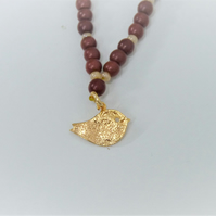 Red Jasper and Gold Bird Necklace, Bird Pendant, Gold Plated, Swarovski Crystal