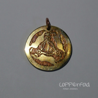 Etched Brass Three Hares Pendant Keyfob Tag