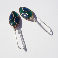 Copper Cloisonne Enamelled Earrings Number Five