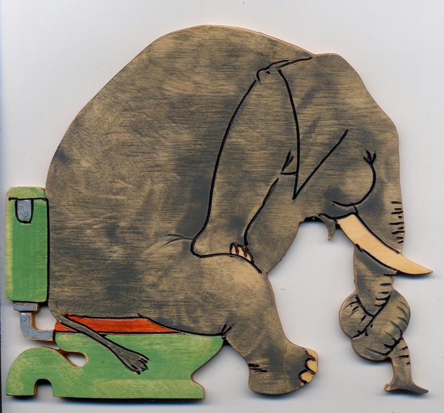 Elephant Toilet Door Sign Folksy