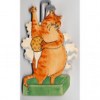 Cat in shower door plaque