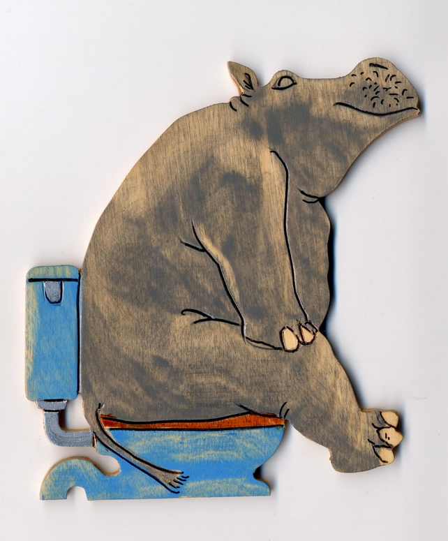 hippo on the loo plaque