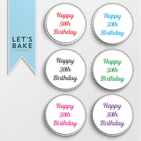 ANY AGE PRINTED Happy Birthday,cupcake,cake,birthday cupcake topper
