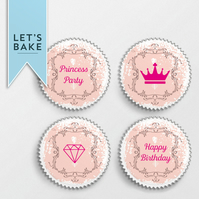Princess party,cupcake topper, topper,edible,princess party theme,princess