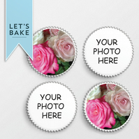 YOUR PHOTO PRINTED,cupcake topper,topper,edible,rice paper,photo