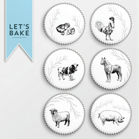 Farm yard animal,cupcake toppers,topper,cupcake decoration, edible,rice paper,