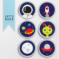 Space,cupcake topper,cupcake topper, topper,edible,rice paper,space theme