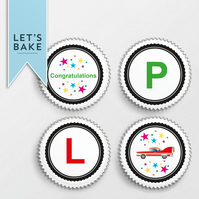 Driving,cupcake topper,cake topper,edible,Passed your driving test