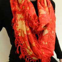 Stunning red upcycled infinity scarf, hand bleach dyed cotton scarf, Autumn gift