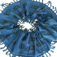 Blue cotton infinity scarf, hand-printed black owl print, great gift.