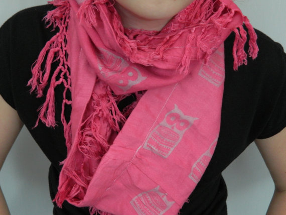 Pink infinity up-cycled scarf, white owl print, hand screen printed, Lovely gift