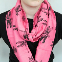 Pink infinity scarf, hand printed black dragonfly print, handmade, great gift.