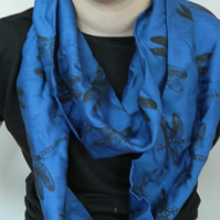 Blue cotton infinity scarf, unique black dragonfly print, hand printed, gift