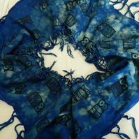 Blue and turquoise, soft cotton up-cycled infinity scarf, hand bleach dyed,gift.