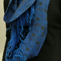 Stunning blue  up-cycled infinity scarf, hand printed butterfly print,gift.