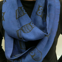 Electric blue upcycled infinity scarf, hand printed owl print, unusual gift.