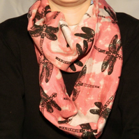 Pink infinity scarf, black dragonfly print, hand screen printed.