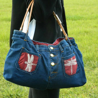 Handmade, Eco hand bag,unique, denim jeans hand bag, up-cycled, recycled, Vegan