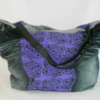 Handmade, Eco tote bag,unique, denim jeans hand bag, up-cycled, recycled, Vegan