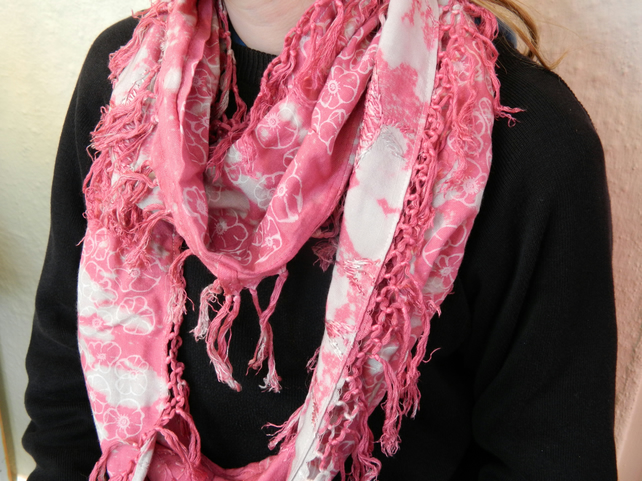 Up-cycled infinity scarf, bleach dyed pink,floral print,hand made, great gift.