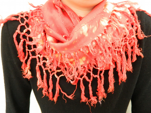 Up-cycled infinity scarf, bleach dyed red & orange autumn shades,hand made,gift.
