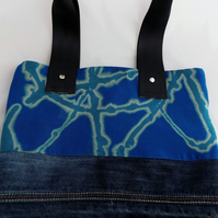 Handmade, Eco tote bag,unique, denim, bleach dyed up-cycled, recycled, Vegan