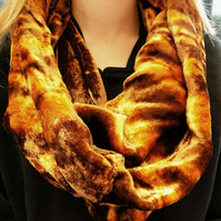 Handmade infinity snood, warm winter scarf, dyed soft velvet, gift.