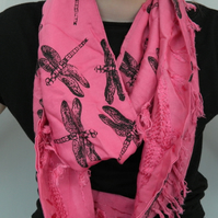 Pink cotton tasselled infinity scarf, hand-printed dragonfly pattern, Eco scarf.