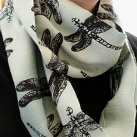 Soft green scarf, dragonfly print, infinity scarf, winter scarf, gift.