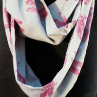 Grey infinity scarf, pink dragonfly print, hand printed, loop scarf unique gift.