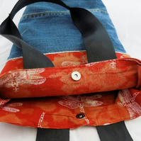 Handmade, eco tote bag, unique dragonfly print, denim, upcycled bag, great gift.