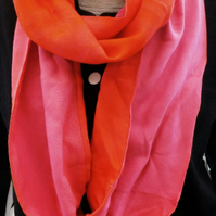 Pink infinity scarf,bright orange and pink, dip dyed loop scarf, great gift