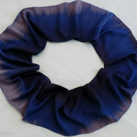 Blue and purple,up-cycled infinity scarf, hand dip dyed, unique, great gift.