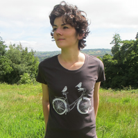 Womens hand screen printed organic T-shirt,Birds taking a ride on a bike,
