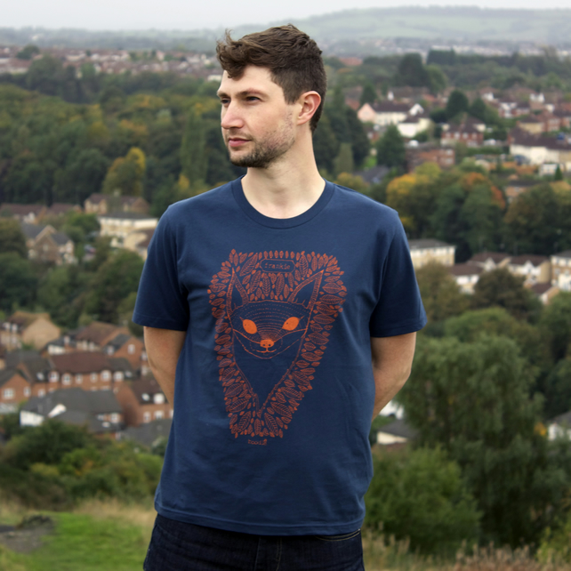 Frankie the Fox T-shirt hand screen printed on Organic cotton