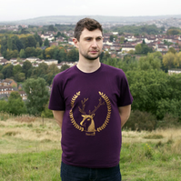 'Simon the Stag' 100% Organic Mens hand screen printed T-shirt.
