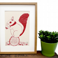 Art Print 'Susie the Squirrel' A4 Screen printed with eco friendly inks. SALE