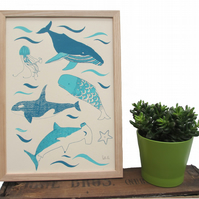 Art print 'Under The Sea' a 2 colour screen print featuring an under water scene
