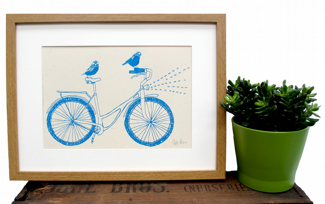Art print 'Night Ride' A4 Screen printed with eco friendly inks.