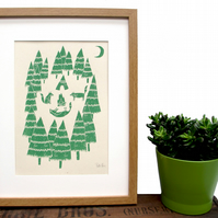 Art print 'Foxes in the Forest' screen print