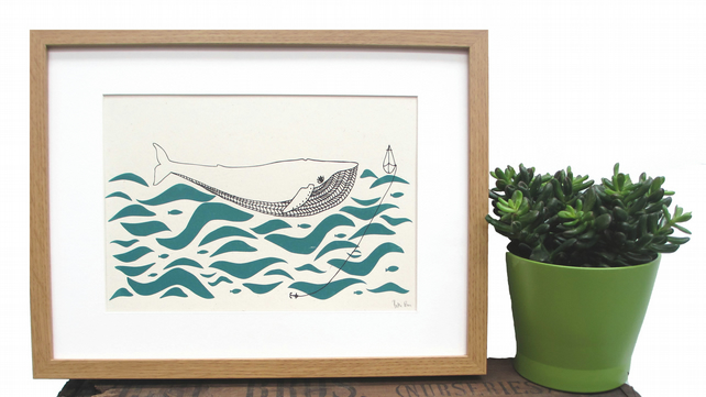 'Gone Fishing' 2 colour screen print