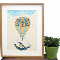 Art print 'On the Move',  a three colour screen print. SALE