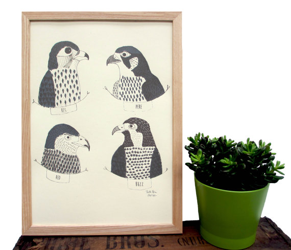 Art Print 'Birds Of Prey' A Two Colour Screen Print featuring 4 birds of prey