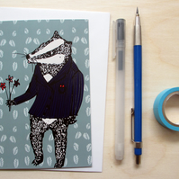 Greetings card 'Bob the Badger' A6 Digitally printed