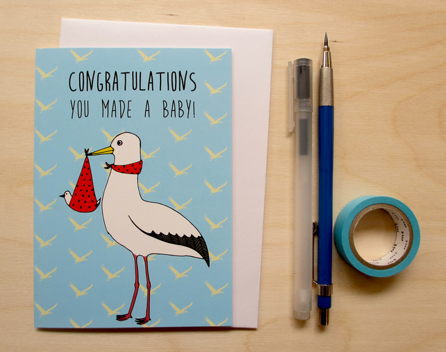 Greetings card 'Congratulations you made a baby!' A6 Digitally printed.