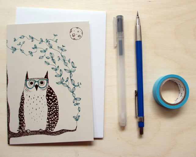 Greetings card 'Otis the owl' A6 Digitally printed