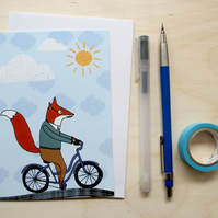 'Fox cycling' greetings card